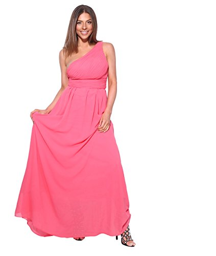 KRISP Vestido Mujer Fiesta Largo Talla Grande Hombro Descubierto Invitada Boda Dama, Coral (4814), 38 EU (10 UK), 4814-COR-10