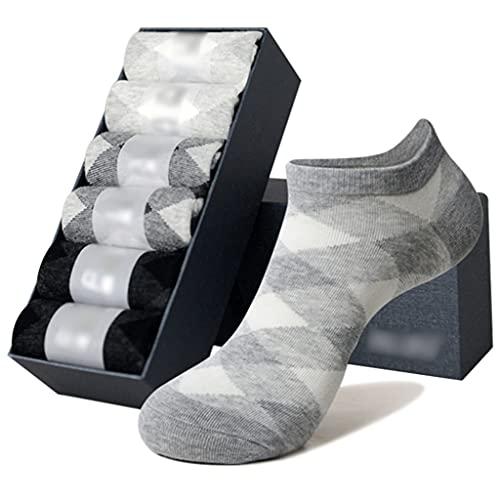 LJMG Calcetines de Deporte Calcetines De Hombre Cómodos Y Transpirables, Calcetines Deportivos Que Absorben La Humedad, Calcetines De Algodón De Tubo Corto A Cuadros Rhombus