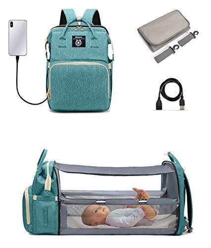 Mamma - Mochila multifunción para bebé - Cambiador - Bolsa impermeable Nappy - Tela Oxford grande - Cuna de viaje plegable con 2 ganchos de cochecito, 1 colchón (verde oscuro)