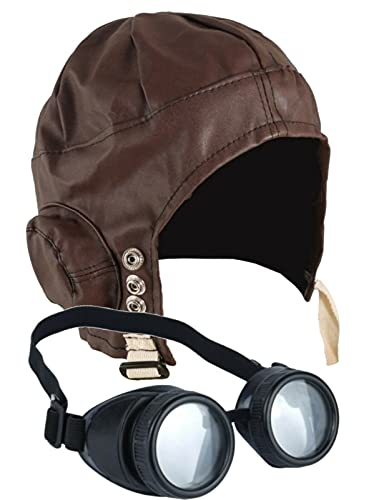 DreamzFit - Sombrero piloto de aviador para hombre y mujer, gafas steampunk y bigote de los años 40, accesorio de disfraz para adulto de Wartime (sombrero de piloto y gafas)