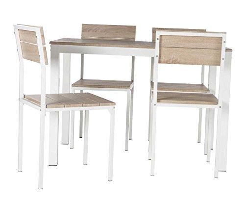 Abitti Conjunto de Mesa + sillas Xobe, para Comedor, Salon o Cocina en Color Taupe y Blanco, Tanto para sillas como Mesa, con una Resistente Estructura metalica