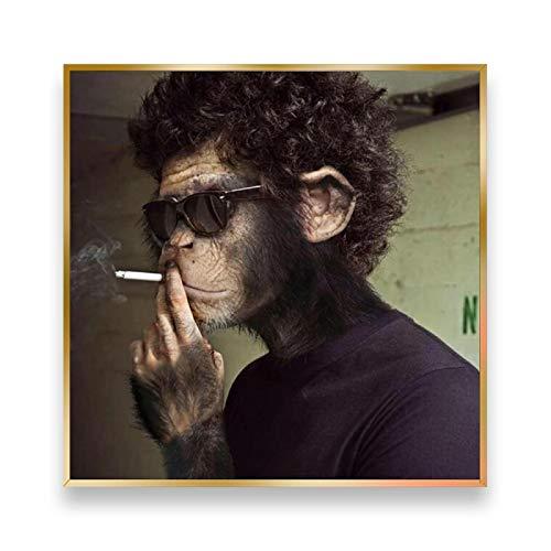 CAPOOK Imagen de Animal Gafas de Sol para Fumar Mono Lienzo Divertido Arte de Pared Póster e Impresiones Pintura de Pared Decoración de la habitación-60x60 cm / 23.6'x 23.6'Sin Marco