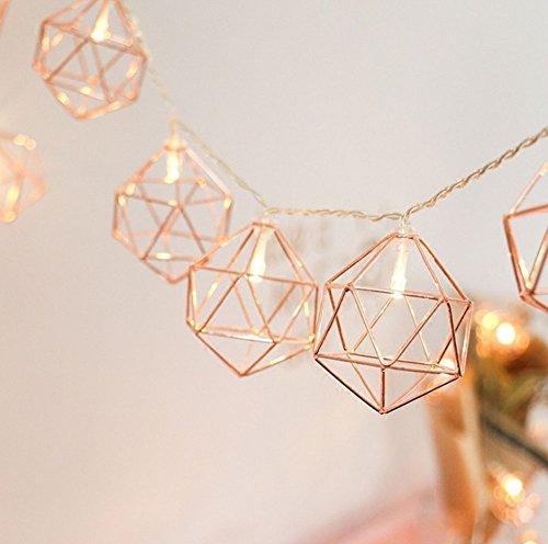 Vintage Lampenschirm Lichterketten,KINGCOO 20 LEDs Rosé Gold Metall Polygon Laterne Käfig Geometrisches Lichter Batteriebetriebene für Home Patio Garten Hochzeit(Warmweiß)