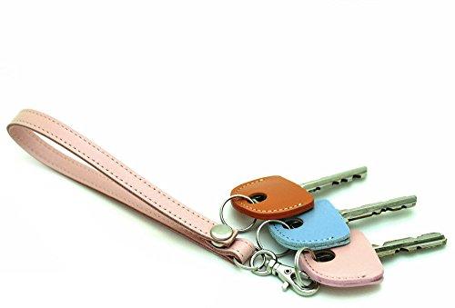 HERBE レザー ストラップ ピンク  1個 ・ キーカバー 3個 セット 牛革  ハンドストラップ キーキャップ 鍵の識別 鍵の番号 NO. 隠しに