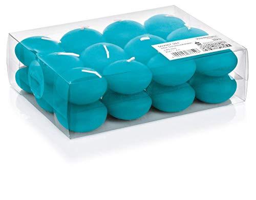 INNA-Glas 24er Set Schwimmkerze - Teelichter Ornella, azurblau, Ø 4,5cm, 4h - Schwimmende Kerzen - Hochzeitskerze