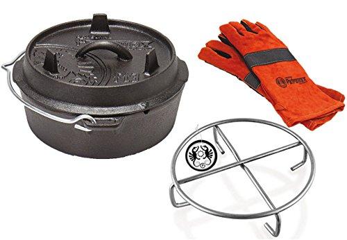 Set Petromax Feuertopf Ft3 ohne Füße + Untersetzer + Handschuhe