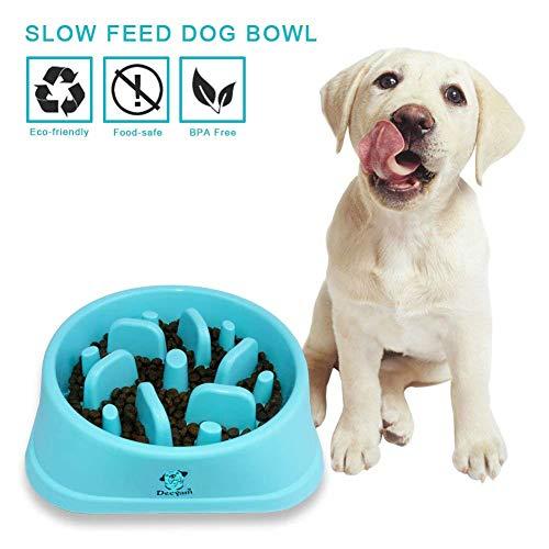 Decyam Comedero Perro Gato, Antideslizante Alimentacion Plato alimentador Tazon Comedero para Mascotas Bebedero Cuenco Bol Recipiente ... (Blue 1)
