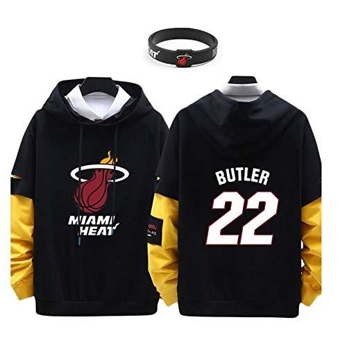 Miami Heat, Jimmy Butler # 22 Jersey Casual Manga Larga Camiseta con Capucha (Color : A, Size : 3XL)