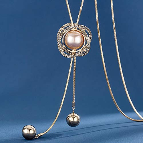 Lussuosa collana lunga da donna con ciondolo a forma di goccia d'acqua grigio cristallo collana donna collier Femme Party Jewelry S5-Champagne Pearl