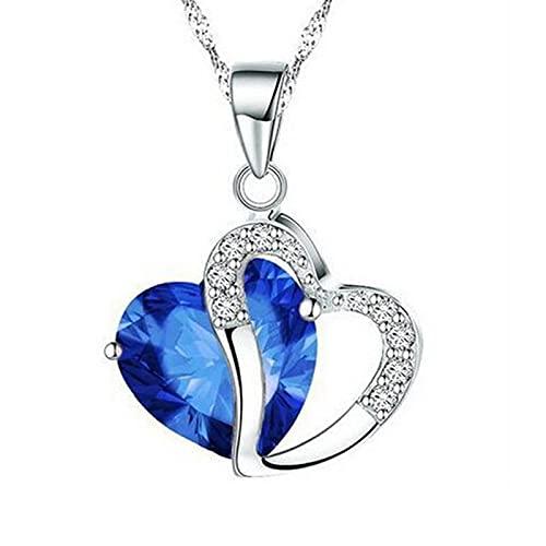6 colores señora moda corazón colgante collar de cristal joyas chicas Azul