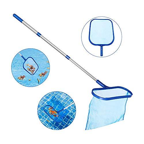 HaavPoois Pool-Skimmer-Netz, Leichter Feinmaschiger Tiefer Beutel Pool Leaf Skimmer-Rechen zum Entfernen von Rechenblättern mit Teleskopstange für den Whirlpool im Gartenteich