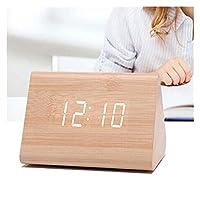 目覚まし時計 クリエイティブデジタル時計木造の目覚まし時計電子LEDの時間表示温度と湿度の湿度の検出ミラー時計 (Color : 7)