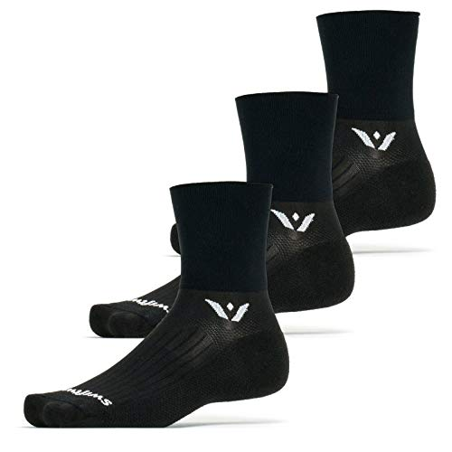 Swiftwick- ASPIRE FOUR (3 Pairs) Cycling & Trail Socks, Breathable, Compression Fit (Black, Large)