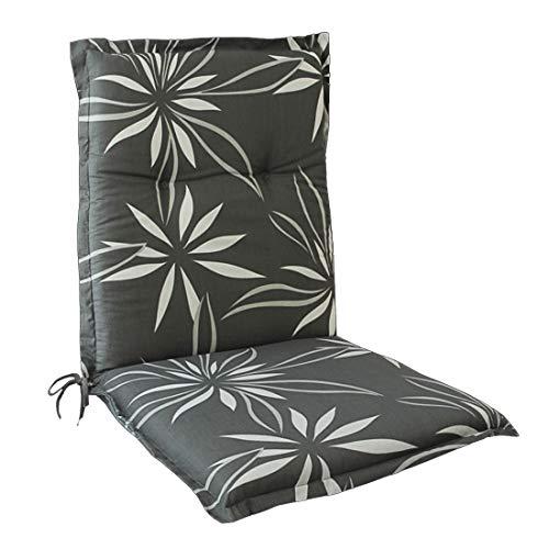 OUTLIV. Polsterauflage Florence Stapelsessel-Auflage 100x50x6 cm Sitz- Rückenkissen Grau mit Blumenmuster Sitzauflage für Gartensessel und Gartenstuhl