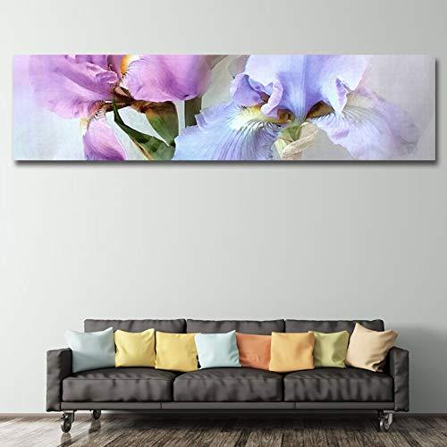 KWzEQ Hauptdekoration des Wohnzimmers mit dem modernen lila Blumenwandkunstplakatbild der Leinwandmalerei,Rahmenlose Malerei,45x180cm
