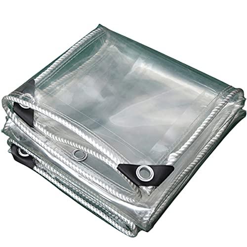Toldo Impermeable y Transparente Lona de Protector con Ojales,Resistente a la Intemperie y Material de PVC Plegable,para Coverup Plantas de Jardines,Muebles de Terraza,0.35mm (2x2m(6.6*6.6ft))