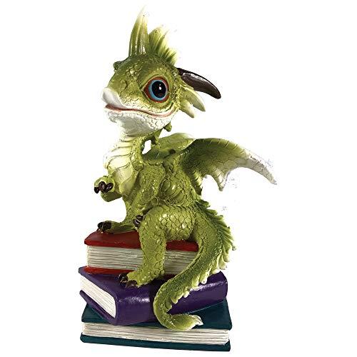 Nemesis Nu Op Een Tijd Groene Draak Met Boeken Beeldje, Polyresin, Een Maat