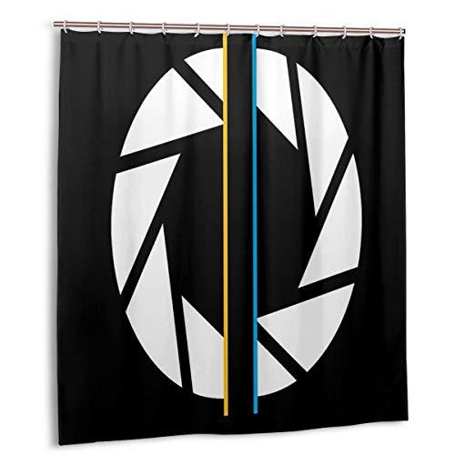 Dxleent Aperture Labs Logo Portal White 66x72 in Hook Type Waterproof Mildew Proof Odorless Non Toxic Shower Curtain