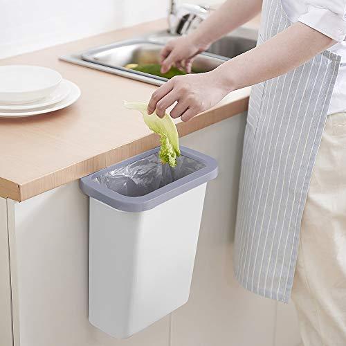 TTMOW Cubos de Basura Colgando para la Cocina, Coche, Oficina, Baño, Dormitorio 10L (Blanco)