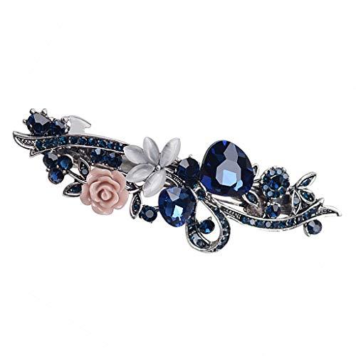 Flor de Cristal Vintage Broche de Pasador de Pelo Broche de Primavera para Mujeres Niñas - Azul