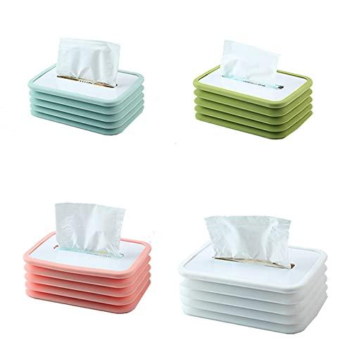 LIUZKH Caja de pañuelos plegable de silicona anticaída, mesa de café para coche, restaurante, caja de bombeo elástica automática, sin caída de papel (4 unidades), multicolor
