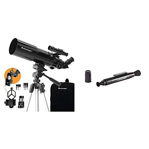 Celestron - 80mm Travel Scope - Portable Refractor Telescope - Bonus Astronomy Software Package - Digiscoping Smartphone Adapter & LensPen - Optics Cleaning Tool, Black (93575)