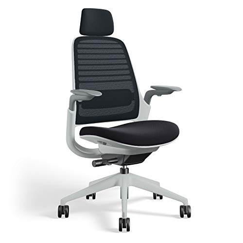 Series 1 Task Chair by Steelcase | Seagull Frame, Congent Connect Upholstery, 3D Microknit Back | Fully Adjustable Arms | Matching Headrest | Carpet Casters (Licorice)