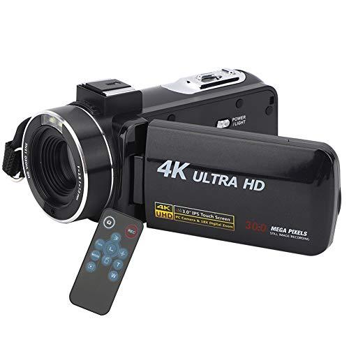 Videocámara Digital de Video 4K 1080P, cámara de grabación de Video Full HD con Pantalla táctil IPS de Zoom de 18X y 3 Pulgadas, videocámara Digital Mini Pocket DV (Negro)