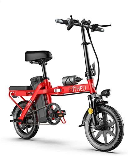 Bicicleta eléctrica de alta velocidad plegable para adultos, bicicleta de aleación de aluminio de 350 W con 3 modos de equitación, para deportes al aire libre, ciclismo, viajes, luz LED (color: rojo)