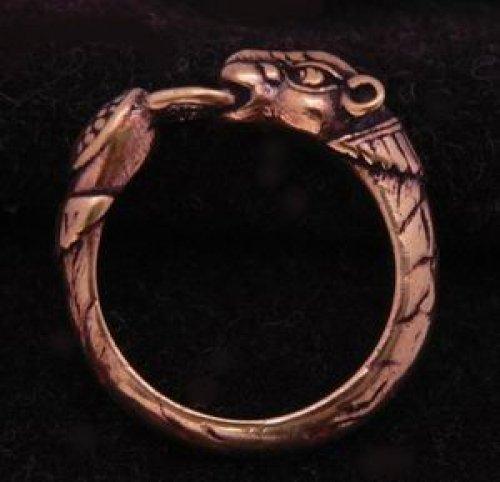 Battle-Merchant Wikinger Ring mit Hundekopf, Bronze Bronzering LARP Wikinger Mittelalter...