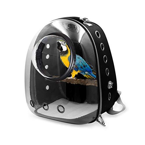 HMMJ Pet Parrot Träger, Blase Vogel Travel Träger Rucksack mit Vogel-Standplatz-Stock for Haustier-Papageien-Katze-Kaninchen (Color : Black)