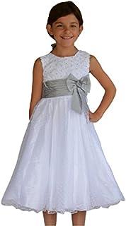 53eaf07f95658 MAXMODE Robe de cortège enfant blanche et grise SABINE