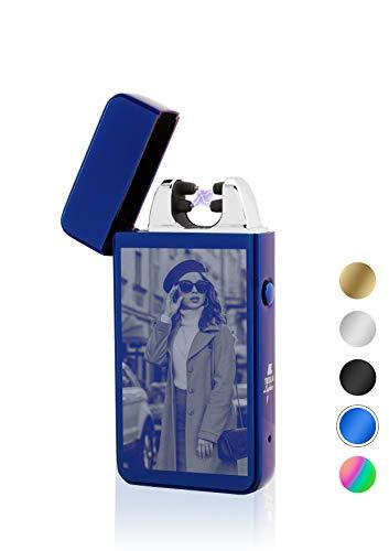 TESLA Lighter T11 Lichtbogen Feuerzeug, mit Foto-Gravur, personalisiert als Geschenk zu Weihnachten, Geburtstag etc. Elektronisches Feuerzeug, wiederaufladbar per USB inkl. Geschenkverpackung Blau