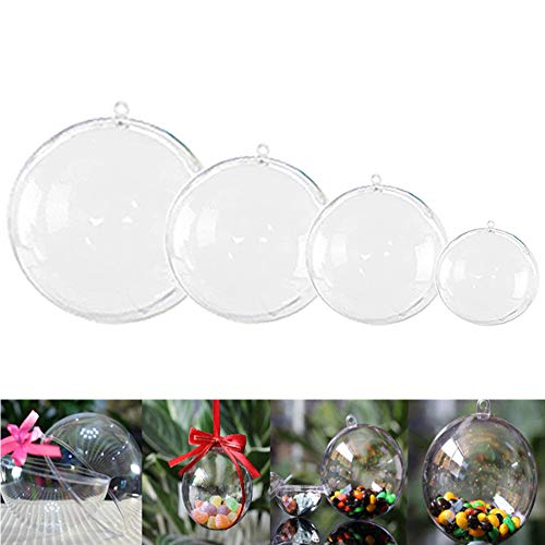 OJYUDD 40 PCS 4 Different Sizes Plastic Ball Ornaments,Christmas Ball Ornaments,Round Clear Ornaments Balls for Home Decor(1.57'/40mm,1.97'/50mm,2.36'/60mm,2.76'/70mm)