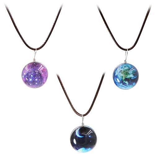 Set mit 3 leuchtenden Erden, Mond, Stern, Nacht, runde Glaskugel-Anhänger für Mädchen und Frauen