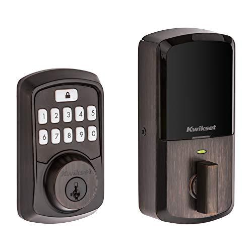 Kwikset 99420-002 Aura Bluetooth Programmable Keypad Door Lock Deadbolt Featuring SmartKey Security, Venetian Bronze
