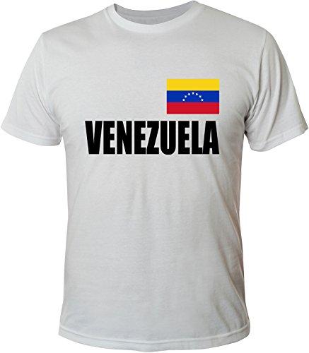 Mister Merchandise Witziges Herren Männer T-Shirt Fahne Flag Venezuela, Größe: XXL, Farbe: Weiß