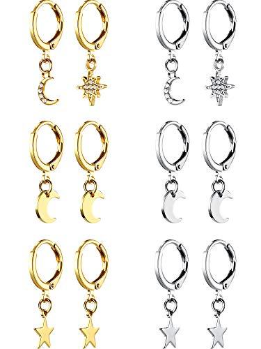 6 Pares de Aretes de Aro de Estrella Luna Mini Pendientes de Aro Huggie Simples Pendientes Colgantes Asimétricos para Mujer Niña, Oro y Plata