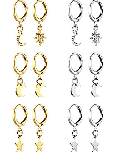 6 Pairs Star Moon Hoop Earrings Simple Mini Huggie Hoop Earrings Asymmetrical Drop Dangle Earrings for Women Girl, Gold and Silver