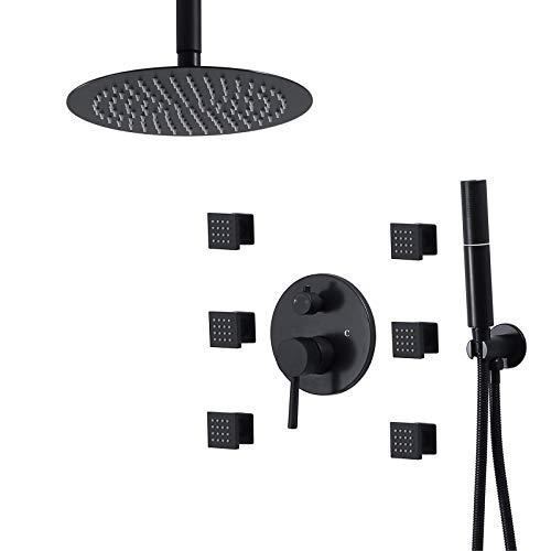 ZCYXQR Sistema de Ducha con Grifo de Ducha con Cabezal de Ducha Tipo Lluvia de 10 Pulgadas, Conjunto Combinado de Ducha con Mezclador de Lluvia de Alto Flujo con 2 (baño en casa)