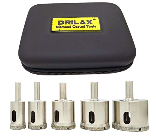 Drilax Diamond Hole Saw Drill Bit 5 Pcs Set Long 3/4 1 1-1/4 1-1/2 1-3/4 Inch Ceramic Porcelain Tile Glass Granite Slate Insert Guide Included