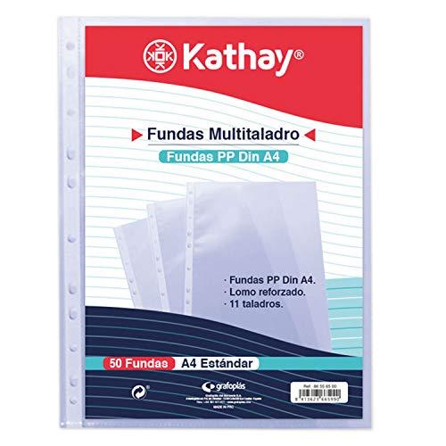Kathay 86556500 Beutel mit 50 Hüllen mit mehreren Löchern, A4, 11 Lochung, Polypropylen Standard