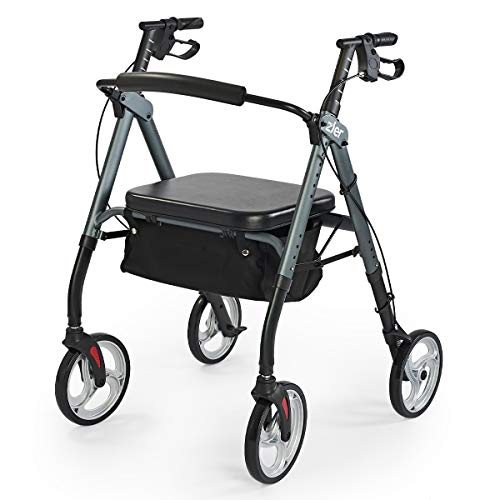 Zler Heavy Duty Rollator Walker 500 lbs - Bariatric Rollator Walker with Extra Wide Padded Seat for Seniors,Folding Rolling Walkers with 10inches Lager Wheels, Gray