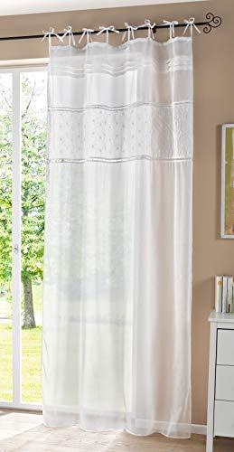 Dekoschal im Landhaus-Stil, weiß, Leinen-Optik, 140x250 cm, Schlaufenschal, Gardine, Vorhang
