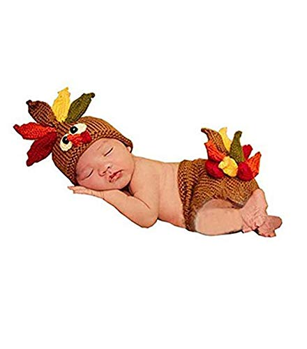 Photography Prop Baby Infant Costume Turkey Crochet Knitted Hat Diaper
