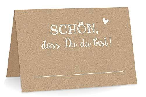 KuschelICH 50 Premium Tischkarten Schön DASS Du da Bist mit Herz - echtes Kraftpapier Weiss Bedruckt - Platzkarten zum selbst Beschriften (Kraftpapier, 50)