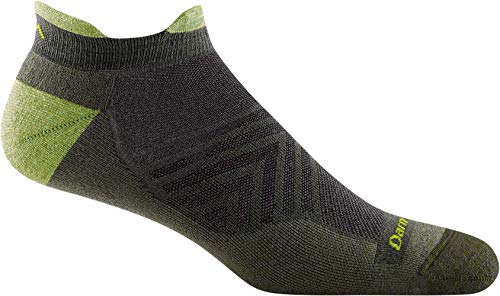 Darn Tough Men's Run No Show Tab Ultra-Lightweight with Cushion - Large Fatigue Merino Wool Socks for Running
