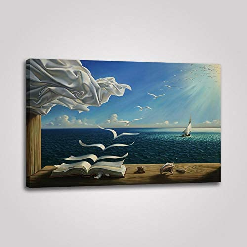 LANFEINA Dali Salvador Canvas Art Poster The Sea Waves Book Sailboat Picture Canvas Painting product image