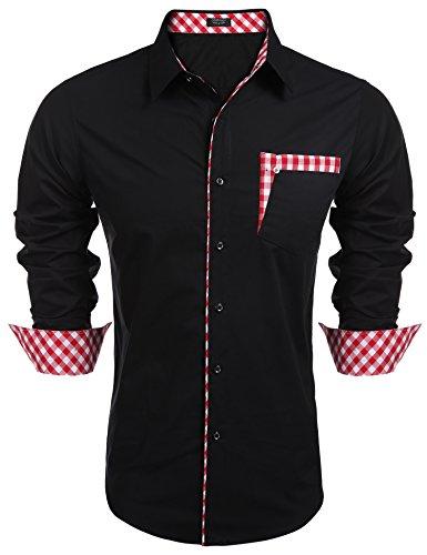 Coofandy Herren hemd regular fit Kontrast Innen Langarm Freizeithemd Kleid Shirts (M, Black)