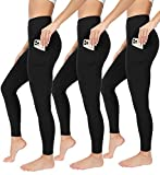 90 Degree By Reflex Power Flex Yoga Pants - High Waist Squat Proof Ankle Leggings with Pockets for Women - Black 3 Pack - XS